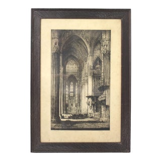 Early 20th Century Antique Andrew Afleck Milan Cathedral Original Etching Print For Sale