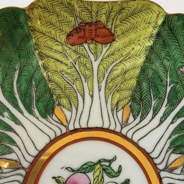 Mid-Century Porcelain Bok Choy Leaf & Butterfly Decorative Scalloped Plate For Sale - Image 4 of 11
