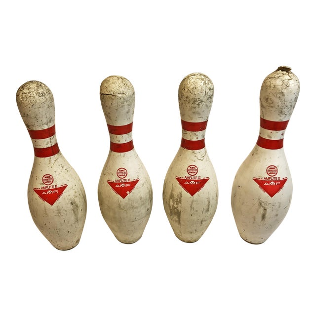 756677ad7 Vintage White Bowling Pins - Set of 4 For Sale