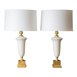 Pair of Porcelain Neoclassical Urn Lamps W/ Shades For Sale