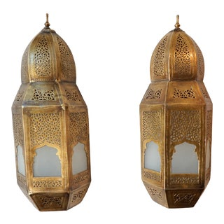 Brass Moroccan Lanterns With 'Sacred Door' Motif - A Pair For Sale
