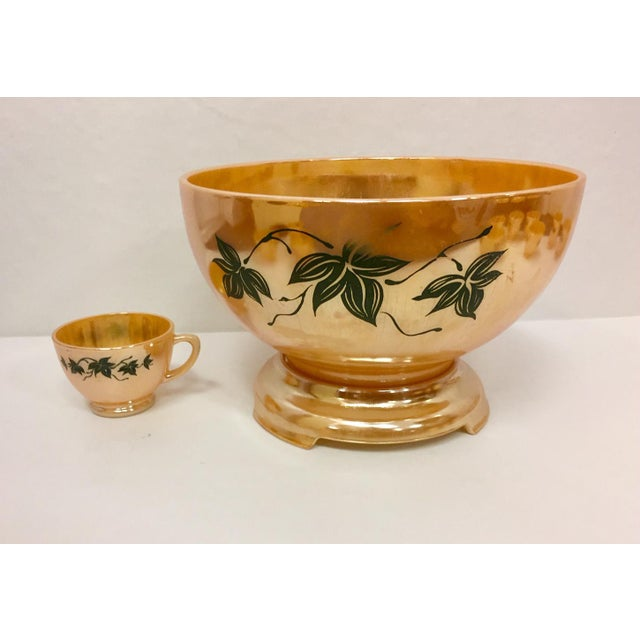 Anchor Hocking 1960s Anchor Glass Peach Luster Nostalgia Punch Serving - Set of 12 For Sale - Image 4 of 11