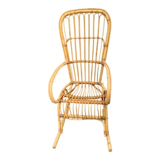 Mid Century Modern Franco Albini Rattan High-Backed Rocking Chair For Sale