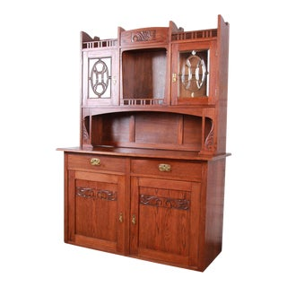 American Arts & Crafts Carved Oak Sideboard With Hutch For Sale