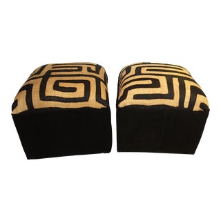 "African Kuba Textile & Mud Cloth Ottomans /Pair 18"" H For Sale"