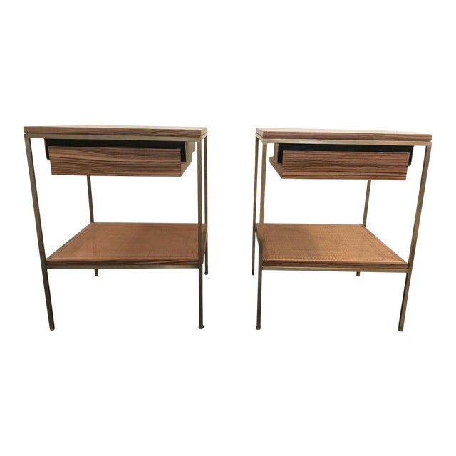 Wood and Brass Bedside Tables - a Pair - Image 1 of 6