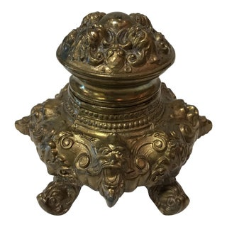 Antique French Brass Inkwell