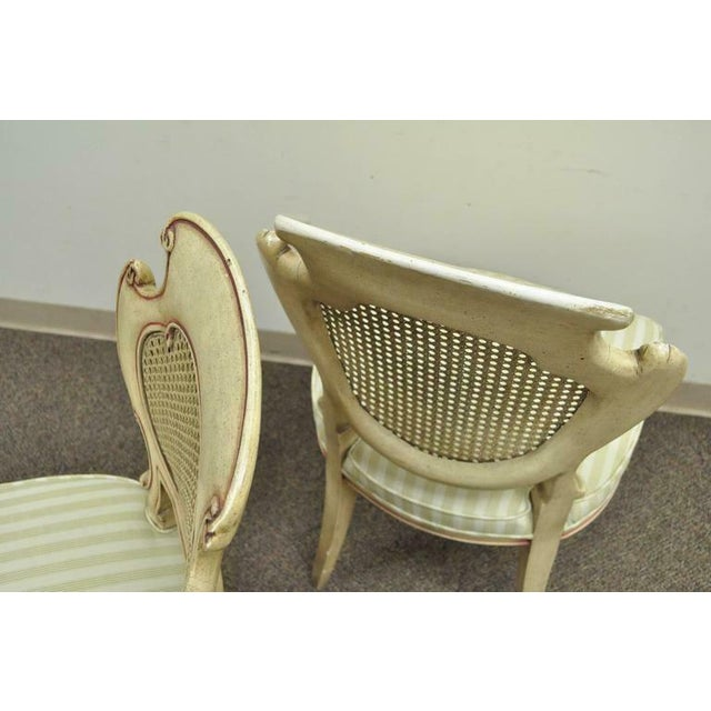Cream 1950s Vintage Scroll Carved Italian Hollywood Regency Cream Pink Cane Back Dining Chairs- 4 Pieces For Sale - Image 8 of 11