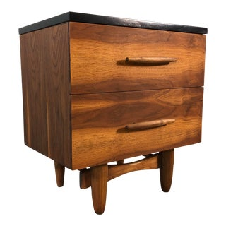 T. H. Robsjohn-Gibbings-Style Walnut & Black Top Night Stand For Sale