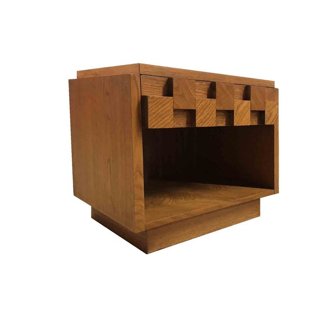 Abstract Expressionism Mid Century Modern Lane Brutalist Oak Sculpted Walnut MCM Nightstand / End Table For Sale - Image 3 of 4