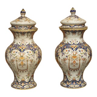 Pair of Antique Faience Lidded Urns From Desvres, France, Circa 1880 For Sale