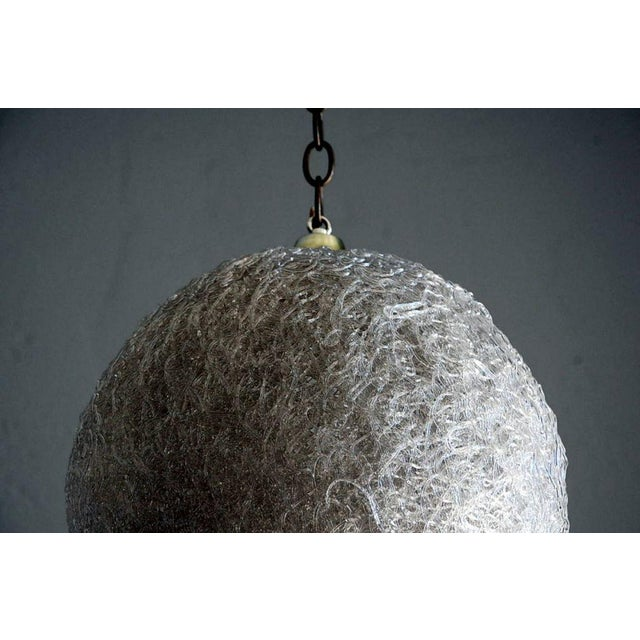 Pair of White Glass Thread Globe Hanging Lights For Sale - Image 4 of 8