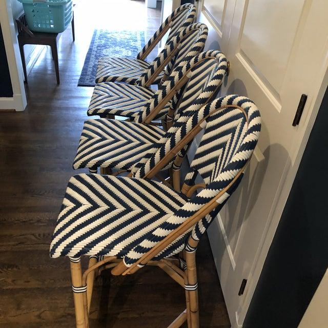 Traditional Serena & Lily Chevron Riviera Stools - Set of 4 For Sale - Image 3 of 8
