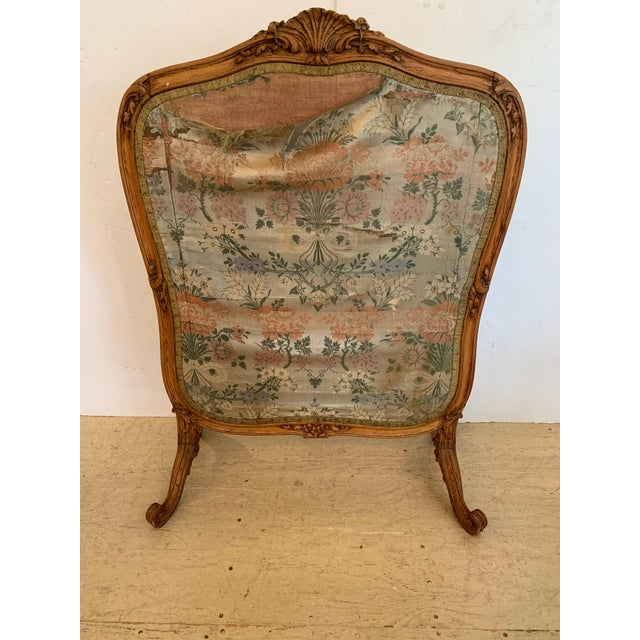 Wood Louis XV Style Antique Upholstered Fireplace Screen For Sale - Image 7 of 9