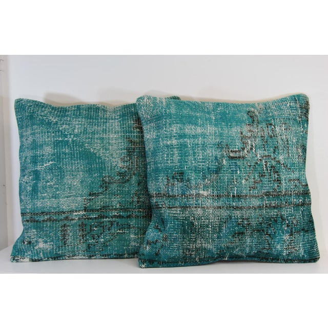Turquoise Overdyed Pillow Covers - A Pair - Image 2 of 6