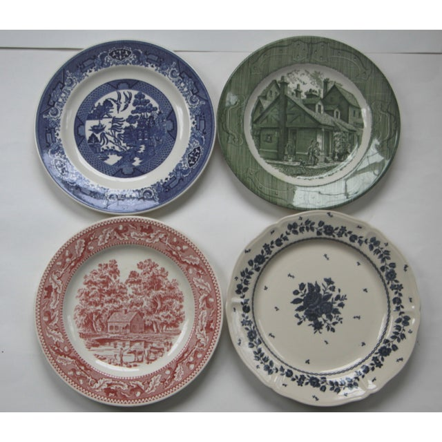 Mismatched Transfer Ware Ironstone Dinner Plates - Set of 8 - Image 3 of 4