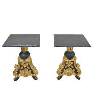 Pair Louis XV Style Black Gold Giltwood Side Tables With Marble Top For Sale