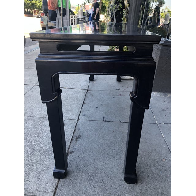 Vintage Chinoiserie Black Lacquer Console Table For Sale - Image 4 of 9