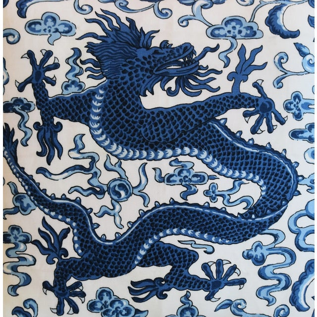 """Abstract Italian Chinoiserie Scalamandre Dragon Feather/Down Pillow 19"""" Square For Sale - Image 3 of 8"""