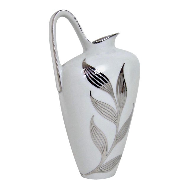 1960s Mid-Century White Porcelain Pitcher With Silver Metal Overlay For Sale