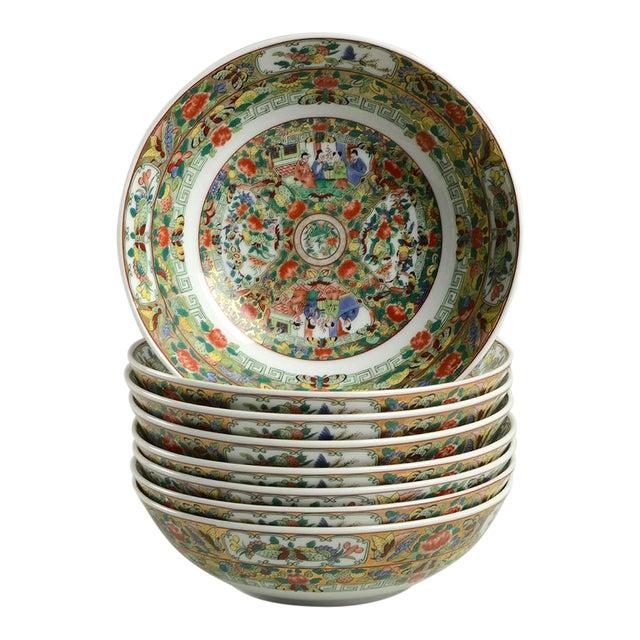 1970s Hong Horizons Canton Rose Individual Bowl - Set of 8 For Sale