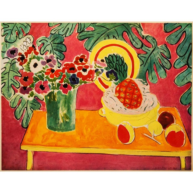 "Gorgeous! Just gorgeous! An original period tipped-in offset lithograph after still life ""The Pineapple"" (1940) by Henri..."