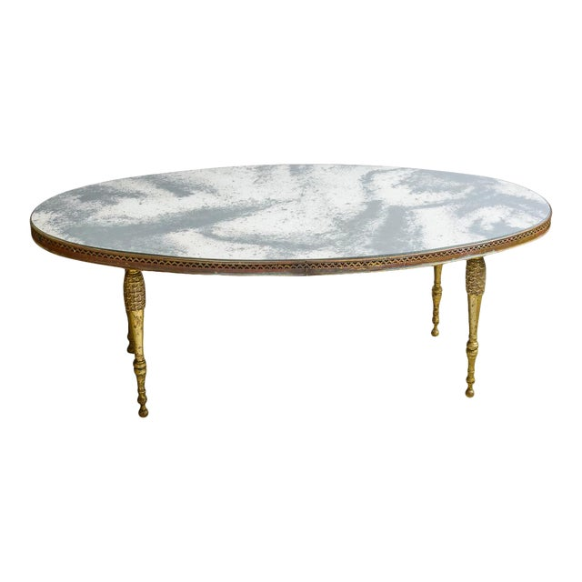 French Mirrored Top Cocktail Table With Brass Gallery & Bronze Legs, C.1940-50 For Sale