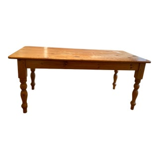 Vintage Solid Knotty Pine Farmhouse Table For Sale