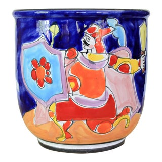 Hand Painted Italian Vessel by La Musa For Sale