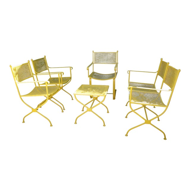 Vintage Mid Century Buttercup Yellow French Directoire Style Wrought Iron Patio Set- 5 Pieces For Sale