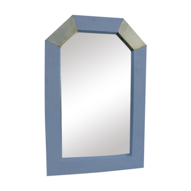 Karl Springer Style Cane and Brass Wall Mirror - Image 1 of 10