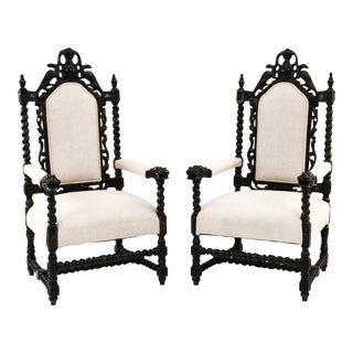 Baroque Style Carved Armchairs - a Pair For Sale