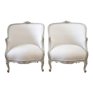 19th Century Original Painted and Upholstered Bergère Chairs in Soft Irish Linen For Sale