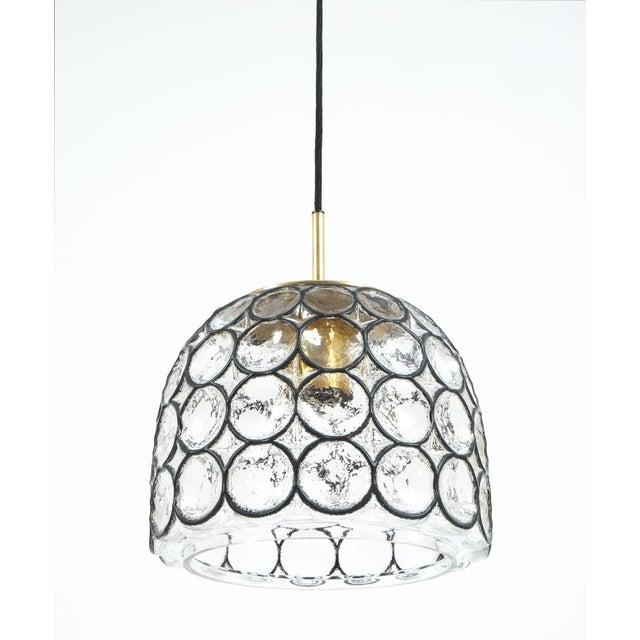 Glashütte Limburg Pair of Large Midcentury Iron and Glass Pendant Lamps by Limburg For Sale - Image 4 of 6