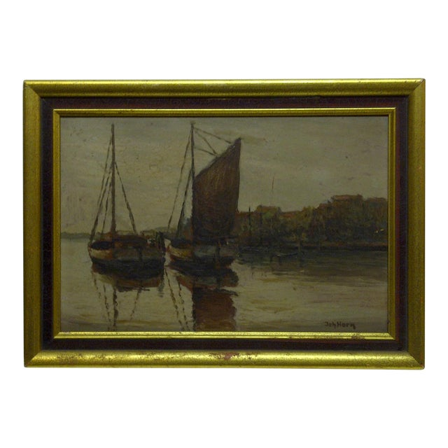 """Docked Boats"" Framed Painting on Board - Image 1 of 7"