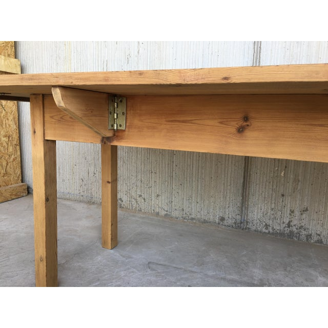 20th Century Midcentury Large Pine Drop-Leaf Country Farm Table With Two Leaves For Sale - Image 9 of 12