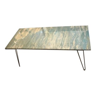 """Hand-Made Blue """"Seascape"""" Art Table For Sale"""