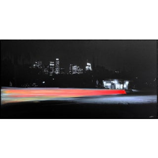 """""""Bob's Market III"""" Contemporary Nighttime Abstract Cityscape Mixed-Media Painting by Pete Kasprzak For Sale"""