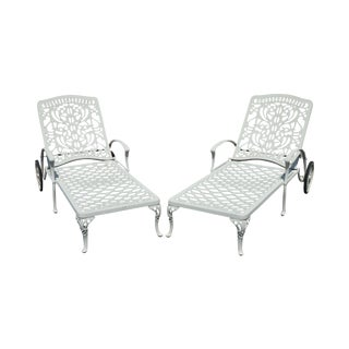 Quality Pair Cast Aluminum Patio Chaise Lounges For Sale