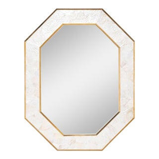 Made Goods Sinead Brass and Shell Octagonal Mirror For Sale