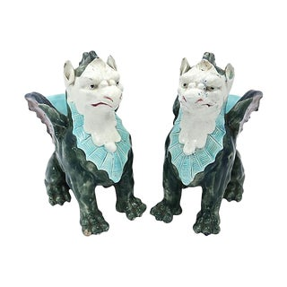Antique Majolica Griffon Vases - a Pair
