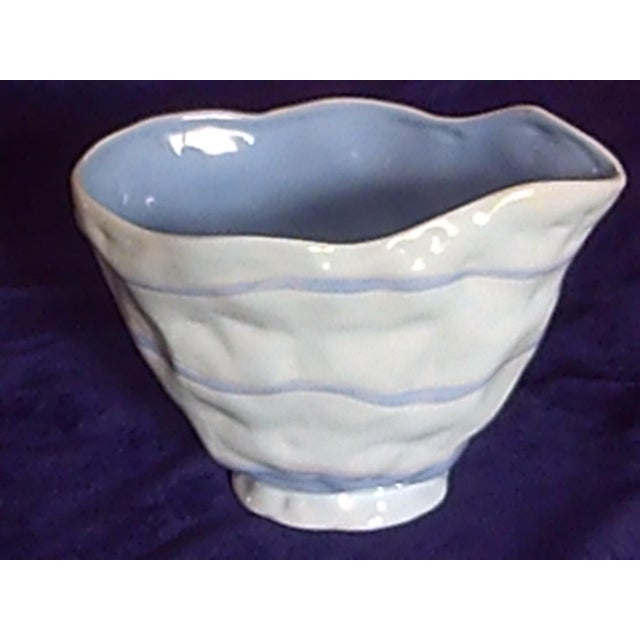 Blue Contemporary Light Blue & White Ceramic Vase For Sale - Image 8 of 8