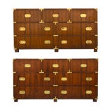 Image of Walnut Baker Chests of Drawers - a Pair For Sale