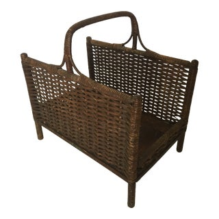Heywood-Wakefield Wood and Rattan Magazine Holder For Sale