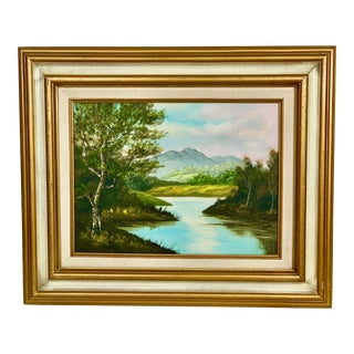 1970s Vintage Lake With Trees and Mountains Landscape Oil Painting For Sale