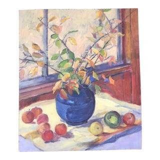 Expressionist Blue Vase Still Life For Sale