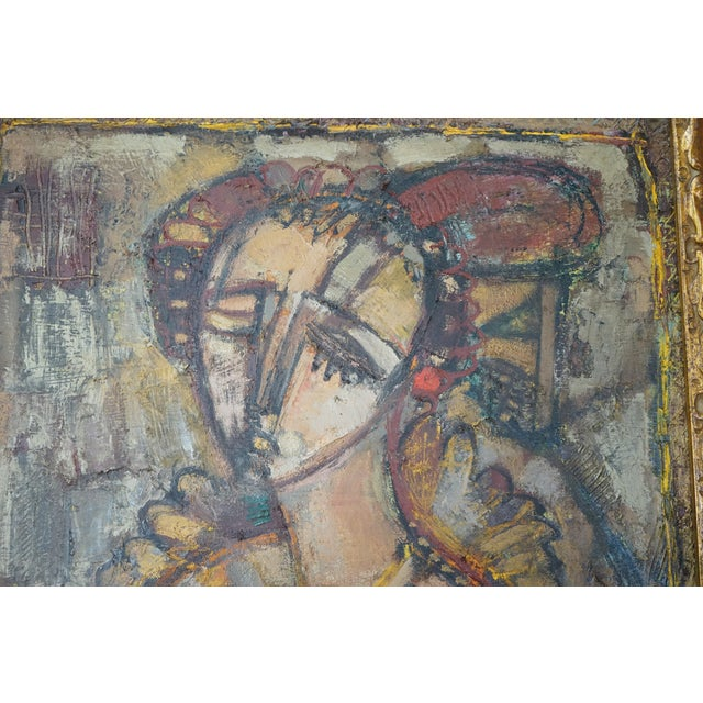 Abstract Vintage Ukrainian Abstract Oil Painting of a Woman For Sale - Image 3 of 8
