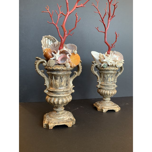 Baroque-Style Carved Silver Gilt Urns With Shell & Faux Coral Composition - a Pair For Sale In Los Angeles - Image 6 of 12