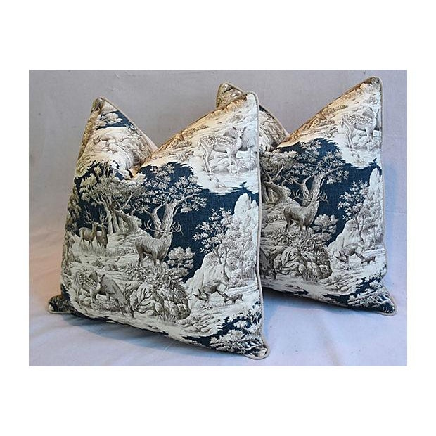 """Feather 25"""" Custom Tailored Woodland Toile Deer & Velvet Feather/Down Pillows - Pair For Sale - Image 7 of 11"""