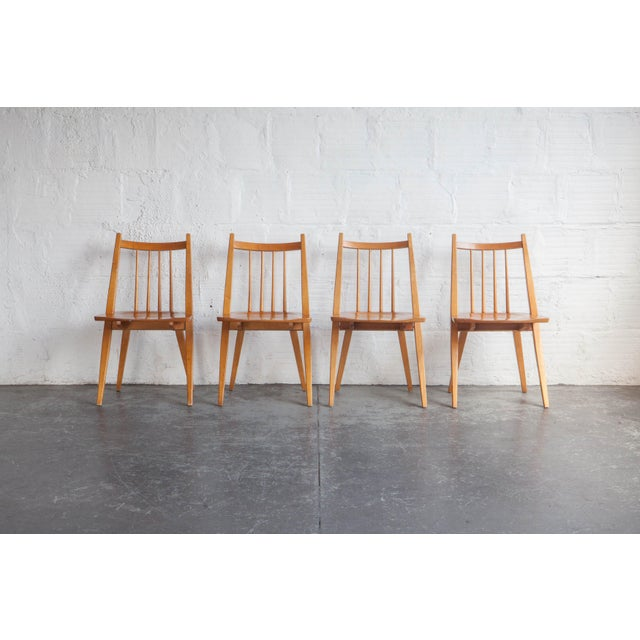 Brown 1970s Mid-Century Modern Maple Dining Chairs - Set of 4 For Sale - Image 8 of 8
